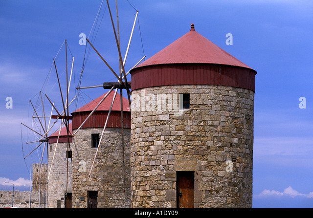 Greece Rhodes Windmills - Stock Image