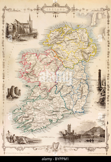 Map of Ireland from The History of Ireland by Thomas Wright, published circa 1854. - Stock Image