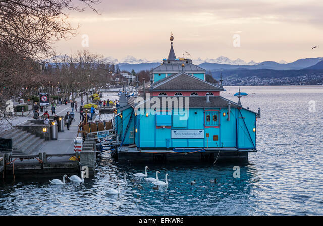 Herzbaracke Boat Theater at Zurich lake in Winter, Switzerland - Stock Image