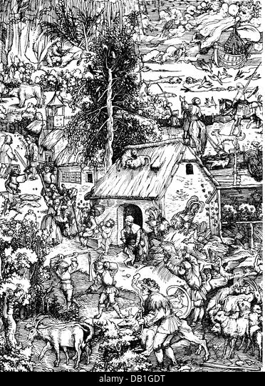 literature, illustrations, dispute and row, woodcut by Hans Burgkmair the Elder (1473 - 1531), out of: Franceso - Stock Image