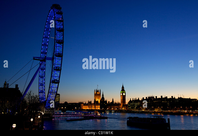 London eye and the houses of parliament at twilight - Stock-Bilder
