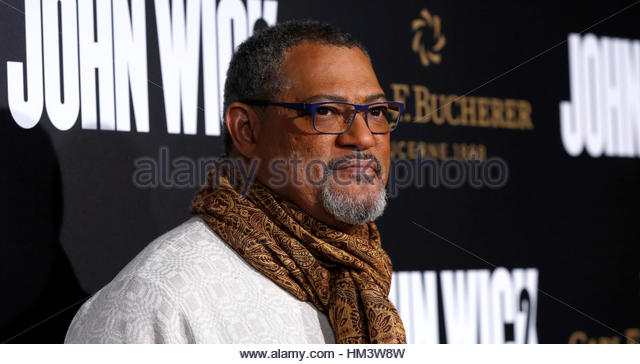 Cast member Laurence Fishburne poses at the premiere of the movie 'John Wick: Chapter 2' in Los Angeles, - Stock-Bilder