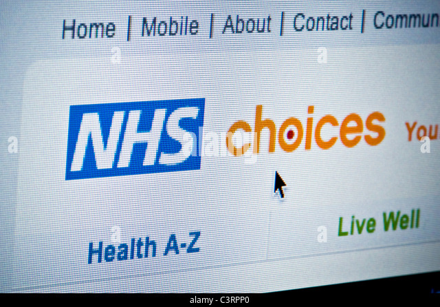 Close up of the NHS Choices logo as seen on its website. (Editorial use only: print, TV, e-book and editorial - Stock Image