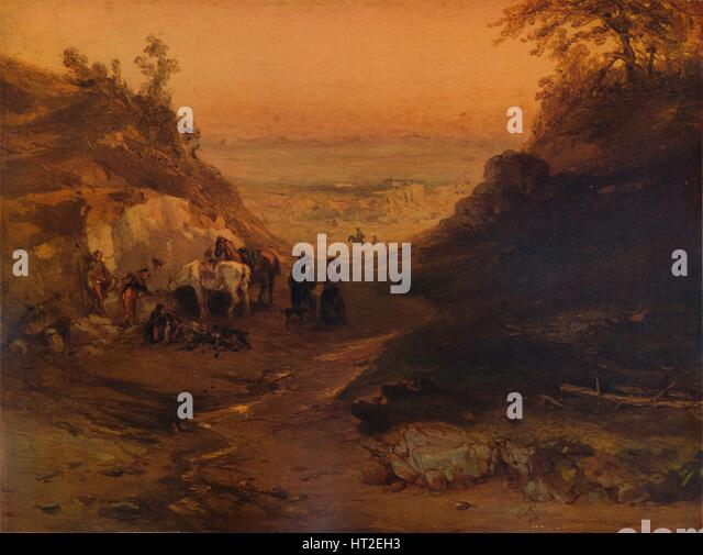 'A Rocky Gorge, with Figures and Horses', 1848, (1938). Artist: Unknown. - Stock Image