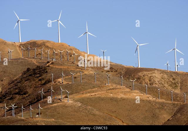 Wind turbine farm - western edge of the Mojave Desert, California. - Stock Image