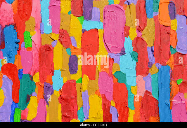 Texture, background and Colorful Image of an original Abstract Painting on Canvas. - Stock Image