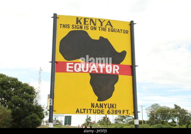 The Equator signboard at Nyanyuki. Credit: David Mbiyu/Alamy Live News - Stock Image