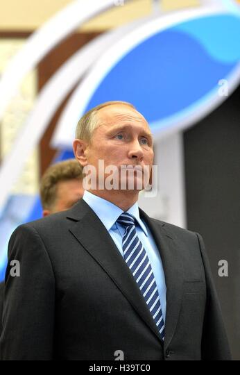 Russian President Vladimir Putin views an exhibition on Eurasian Space at the Atana Expo 2017 in the lobby of the - Stock Image