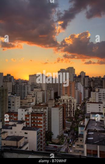 Twilight in the city of Sao Paulo Brazil - Stock Image