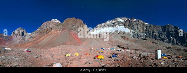 Plaza Argentina Base Camp, Aconcagua Provincial Park, Argentina - Stock Image