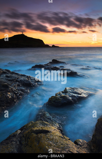 Twilight at Porth Ledden near Land's End, Cornwall , UK - Stock Image