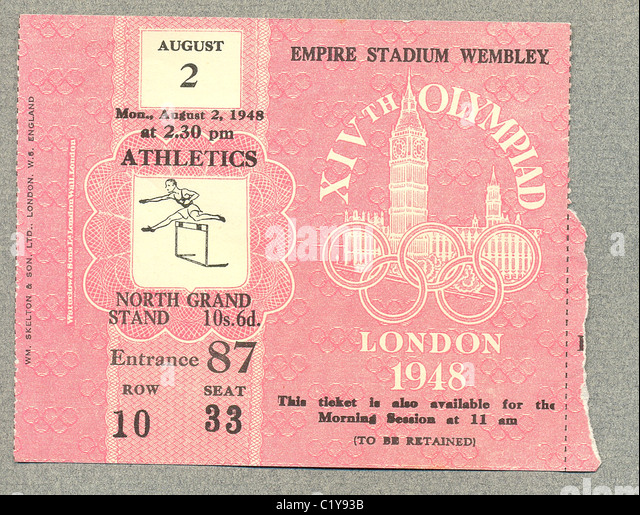 Ticket for athletics at London Olympic Games - Stock Image