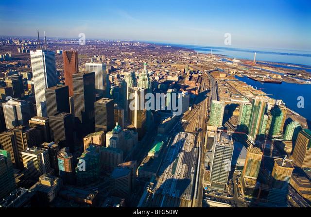 Downtown Toronto from CN Tower, Toronto, Ontario, Canada - Stock Image