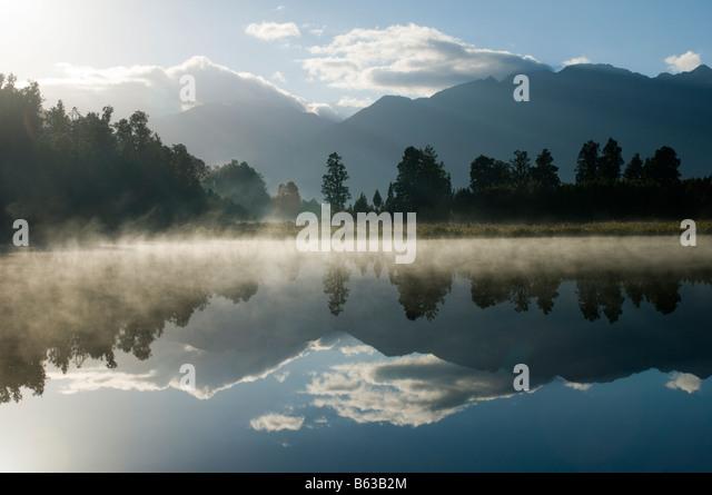 Lake Matheson, near Fox Glacier, South Island, New Zealand - Stock Image