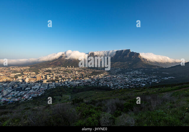 Table Mountain covered in a tablecloth of orographic clouds, Cape Town, South Africa, Africa - Stock Image