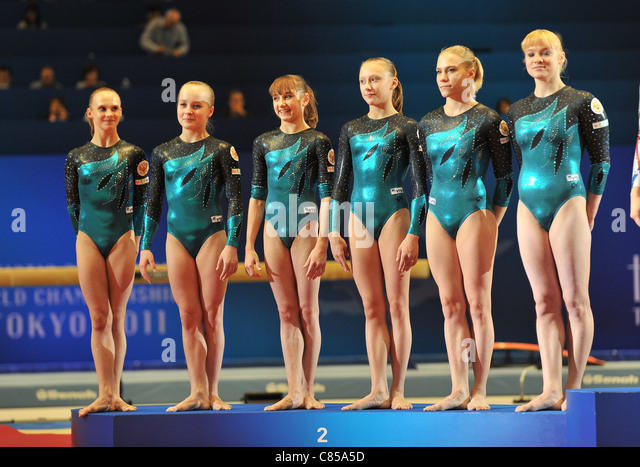 Team Russia (RUS) line-up during the 2011 Artistic Gymnastics World Championships. - Stock Image
