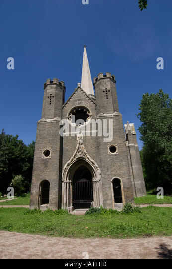Newly restored in 2017 the Abney Park Mortuary Chapel off of Stoke Newington Church Stree and Stoke Newington High - Stock Image
