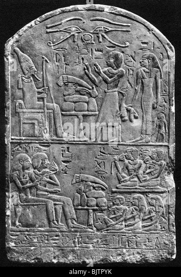 A tombstone of Amennebi, c1550 BC (1936). - Stock Image