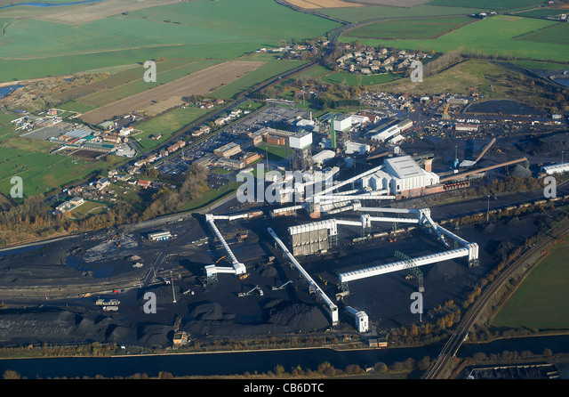 Kellingley Colliery from the air, nr Knottingley, West Yorkshire, Northern England - Stock Image