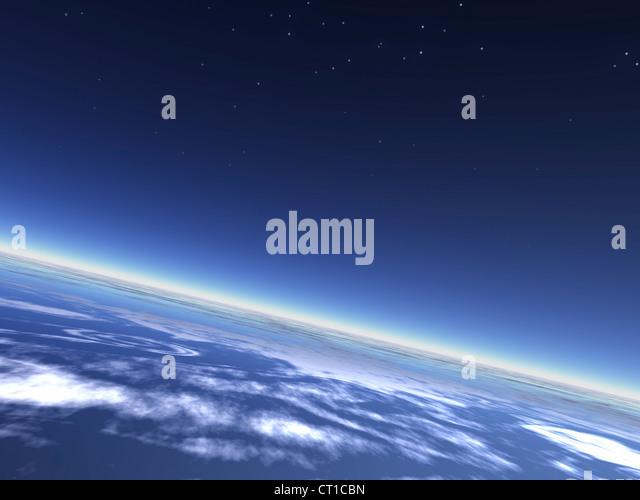 blue planet earth atmosphere and night sky - Erdatmosphäre mit Nachthimmel aus dem All gesehen - Stock Image
