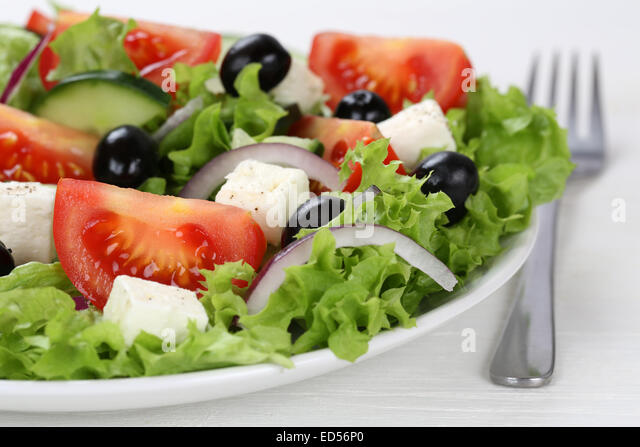 Greek Salad Olive Feta Onion Tomatoes Stock Photos & Greek ...