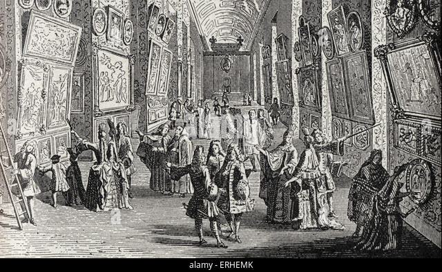 Louvre - first gallery of art works, paintings Installed in the Grand Gallery - 1699 - Stock-Bilder