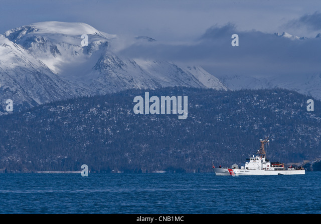 U.S. Coast Guard boat in Southeast Alaska, Summer - Stock Image