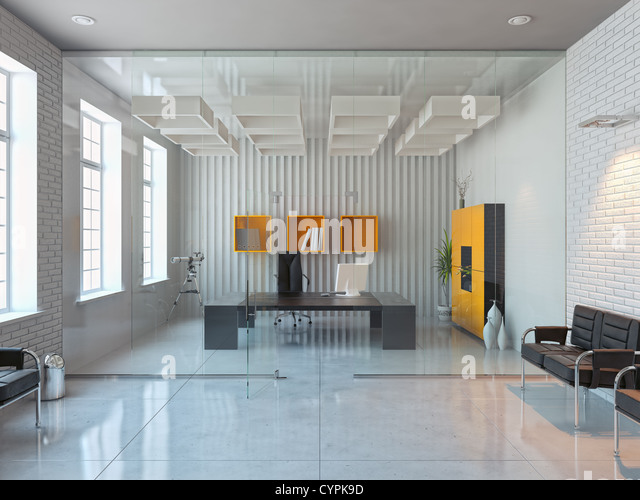 modern interior design of office room (3D render) - Stock Image