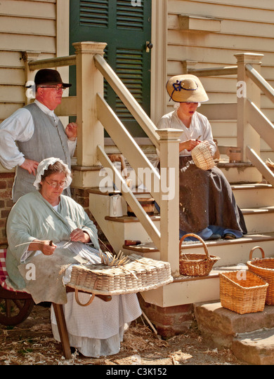 Basket Weaving Exeter : Colonial reenactment stock photos