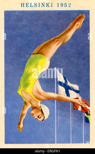 Olympics 1952 Helsinki, Finland. Poster of   female diver. - Stock Image