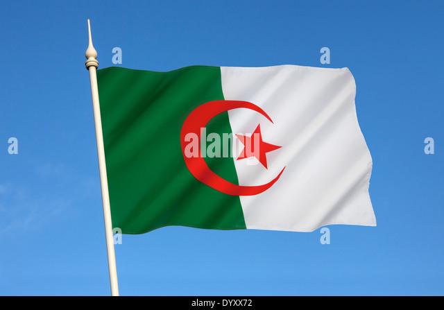 The national flag of Algeria - Stock Image