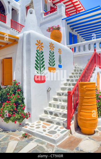colorful architecture of Mykonos, Greece - Stock Image