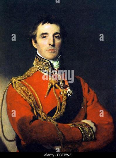 Duke of Wellington, Portrait of Arthur Wellesley, 1st Duke of Wellington and Prime Minister of UK - Stock Image