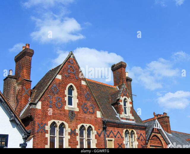 A former dwelling, now with shop front to ground floor - built in 1863 of Victorian Gothic architecture - Stock Image