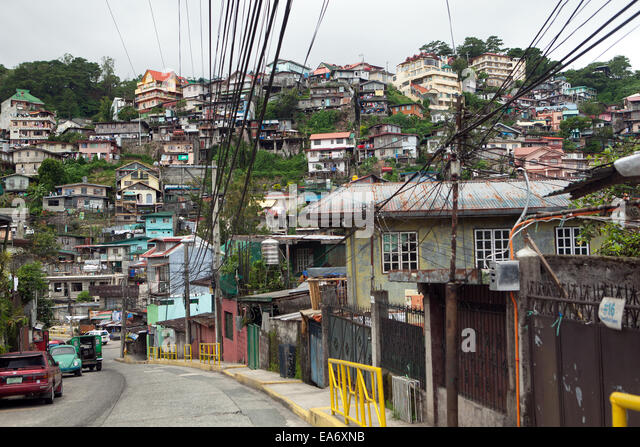Congested housing in Baguio City, Philippines. - Stock Image