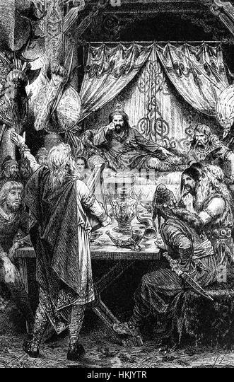 A banquet with Attila the Hun, leader of the Hunnic Empire - Stock-Bilder
