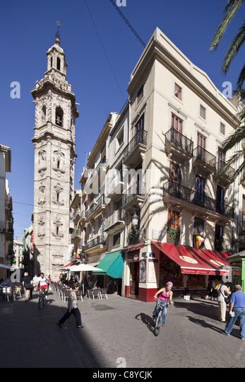 Santa Catalina church tower, Valencia, Spain - Stock Image