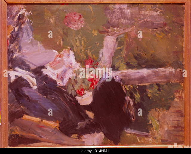 fine arts, Manet, Edouard, (1832 -1883), painting, 'La mere de Manet dans le jardin de Bellevue', ('Manet - Stock-Bilder