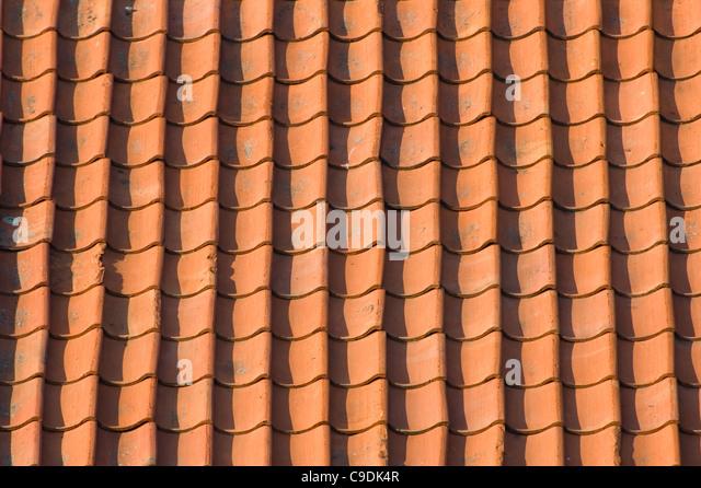 Old, red roof tiles - Stock-Bilder