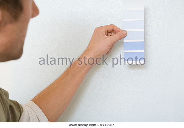Man with colour chart - Stock Image