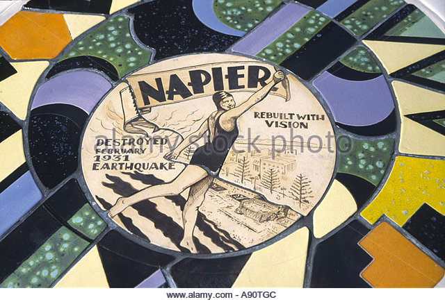 new zealand South island Napier mosaic art nouveau memorial sign for earthquake in 1931when Napier was destroyed - Stock Image