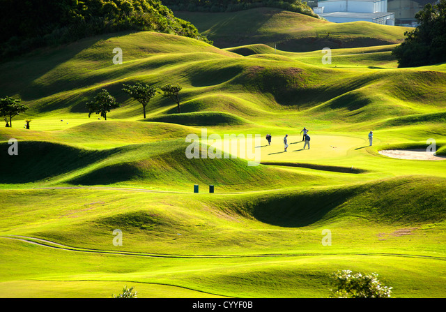 Golf place with wonderful green - Stock Image