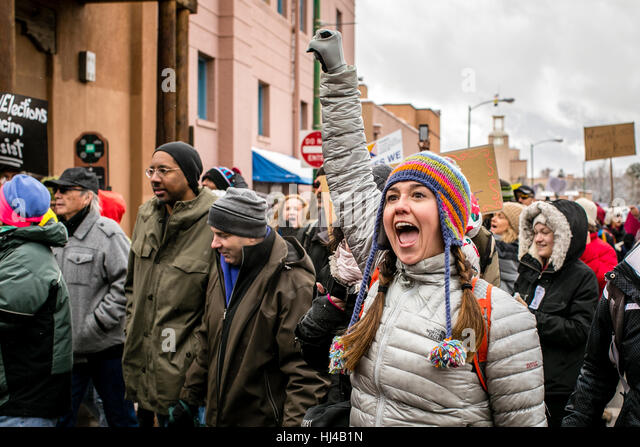 Women's March on Washington - Santa Fe, Women's rights, protest, stronger together, female protester - Stock-Bilder