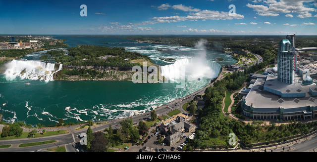 Panoramic aerial view on Niagara Falls from Canada side with American Falls on the left and Canadian Horseshoe on - Stock Image