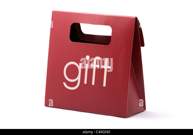 Red elegance carton bag with GIFT word isolated on a white background. - Stock Image