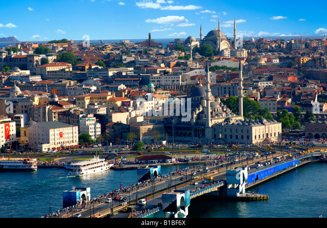 Istanbul view from galata tower - Stock Image