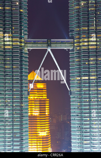 Malaysia, Kuala Lumpur, view over Kuala Lumpur City Centre (KLCC) & Petronas Towers - Stock Image