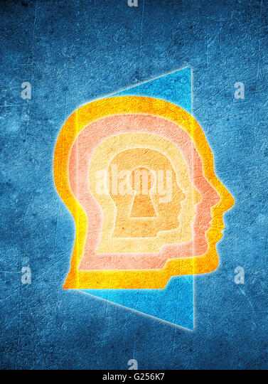 colored human head with keyhole and door psychology concept - Stock Image