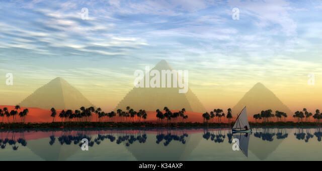 The Great Pyramids stand majestically over the Nile River running through the land of Egypt. - Stock Image