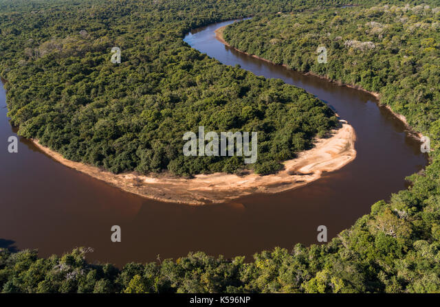 Aerial view of the Rio Negro in South Pantanal, Brazil - Stock Image